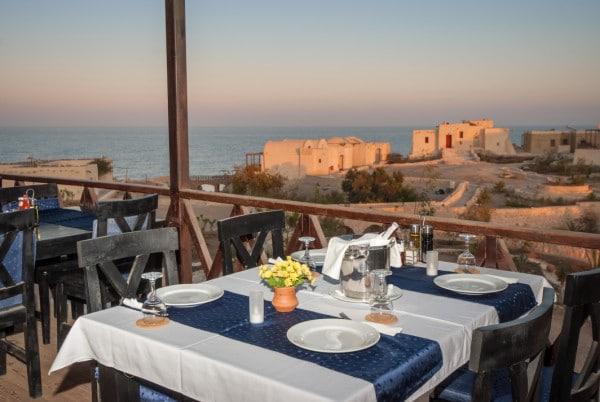 The Oasis Dive Resort mit einem schönen Ausblick vom Restaurant aus