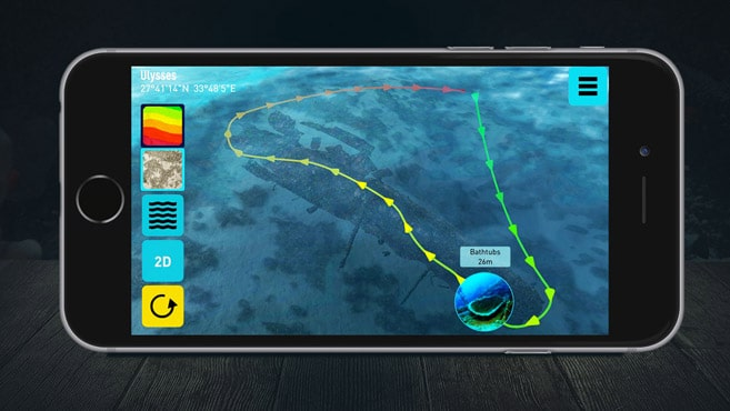 3D-Karte Ulysses auf IPhone von Ocean Maps 1