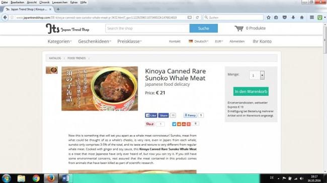Walfleisch im Internet zum Verkauf