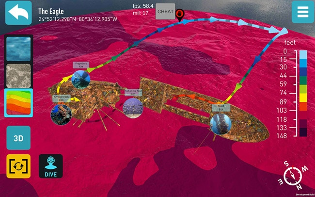 3-D-Karte Florida App The Eagle von Ocean Maps