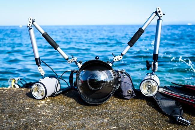 Unterwasserkamera mit Unterwassergehäuse
